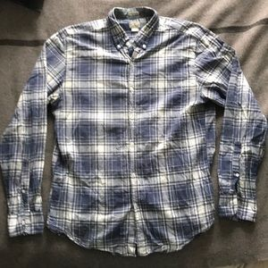 JCrew men madras blue check cotton shirt size L